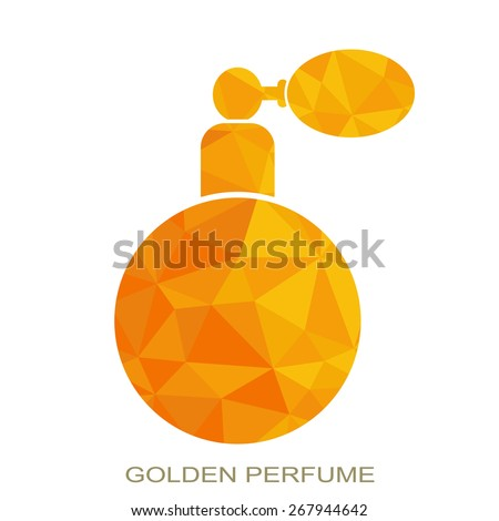 Elegant stylish perfume logo design. Beauty, perfumes and cosmetics triangle logo. - stock vector
