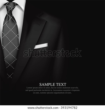 Elegant Suit  and tuxedo with bow tie. Vip business background, vector