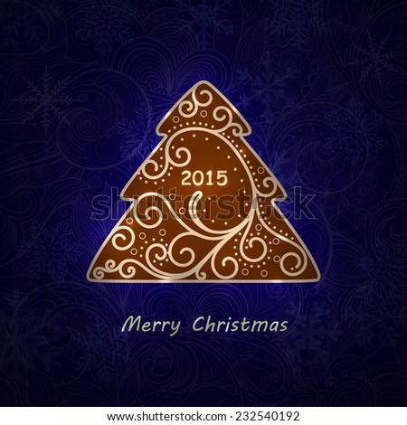 Elegant swirl Christmas tree with shine. Eps10 vector card. - stock vector