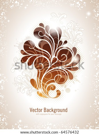elegant swirly vector background in warm colors - stock vector
