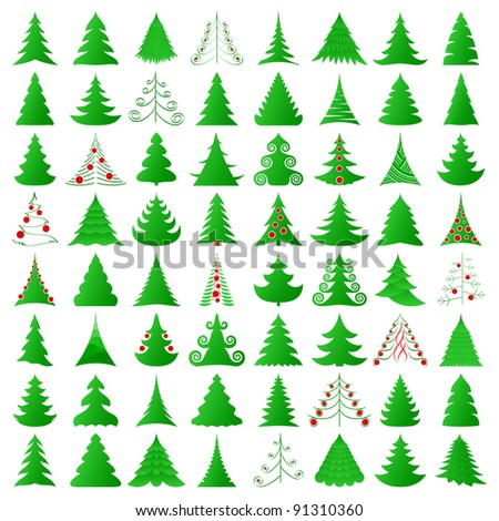 elegant symbolic Christmas trees collection - stock vector