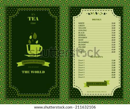 Elegant tea house menu design list template with decorative elements vector illustration in green colors retro style - stock vector