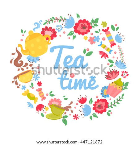 Elegant tea time floral wreath teapot stock vector 447121672 elegant tea time floral wreath with teapot cupcake sweets and flowers for business greeting m4hsunfo