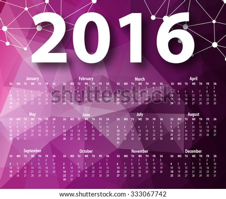 Elegant template for 2016 calendar year in geometric graphic style for poster, site, web design. Abstract modern polygonal background. Vector illustration EPS 10.