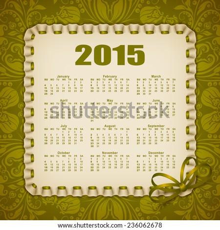 Elegant Template 2015 Calendar Year Lace Stock Vector 236062678