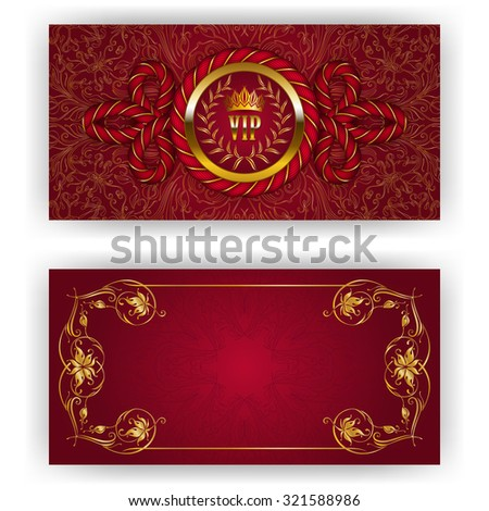 Elegant template for luxury invitation, gift card with rope decor, lace ornament, crown, ribbon, laurel wreath, drapery fabric, place for text. Floral elements, ornate background. Illustration EPS 10. - stock vector