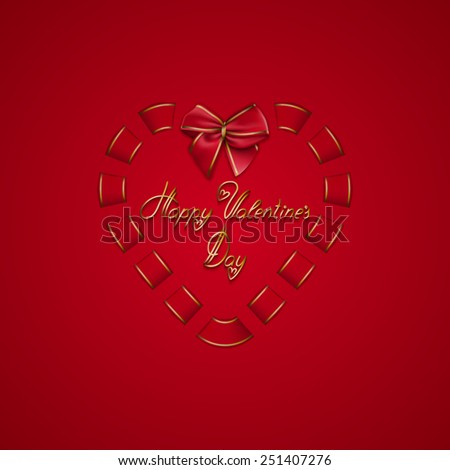 Elegant template for luxury invitation, gift, greeting card with bow, ribbon. Abstract festive Valentine day background. Vector illustration EPS 10. - stock vector