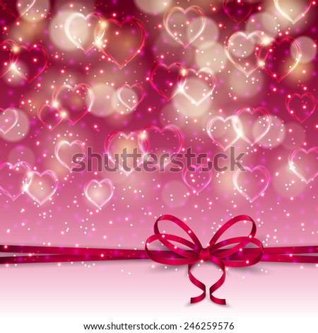 Elegant template for luxury invitation, gift, greeting card with bow, ribbon, place for text. Abstract festive bokeh Valentine's day background. Vector illustration EPS 10. - stock vector