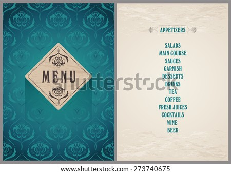 Elegant Template Menu Luxury Bright Turquoise Stock Vector