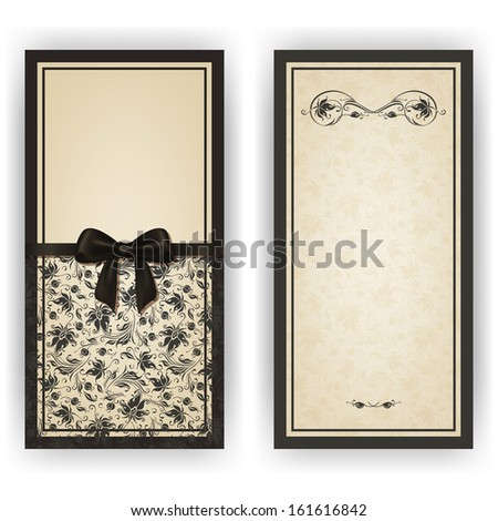 Elegant template luxury invitation, card with lace ornament, bow, place for text. Floral elements, ornate background. Vector illustration EPS 10. - stock vector