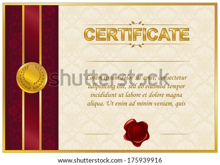 Elegant template of certificate, diploma with lace ornament, wax seal, place for text. Vector illustration EPS 8. - stock vector