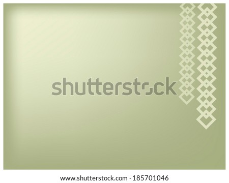Elegant Template of Two Square Chain Hanging from A Top of Green Background with Copy Space for Text Decorated   - stock vector
