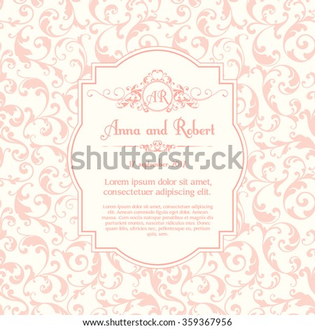 Elegant template with delicate ornamental seamless pattern, monogram, place for text. Design for wedding invitation, greeting card with calligraphic elements Trend color Rose Quartz