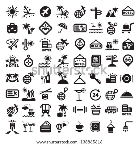 Elegant Travel Icons Set Created For Mobile, Web And Applications. - stock vector