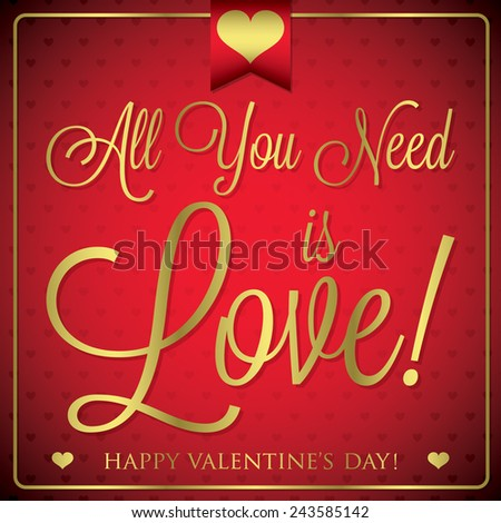 Elegant typographic Valentine's Day card in vector format. - stock vector