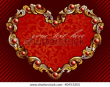 Elegant valentine background with rubies (vector); a JPG version is also available