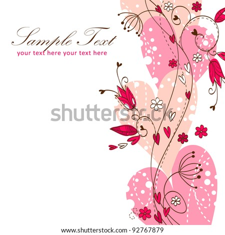 Elegant Valentine love floral postcard with hearts and flowers