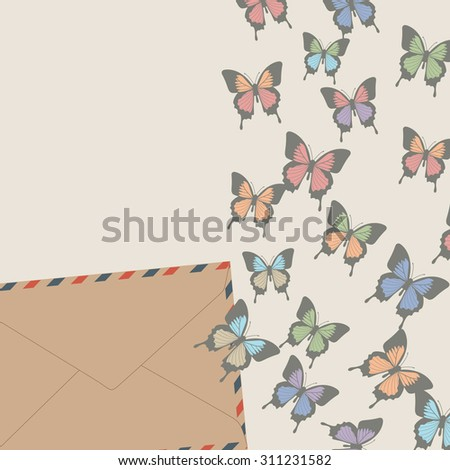 Elegant vector background with butterflies - stock vector