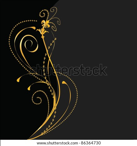 elegant vector black and gold background - stock vector