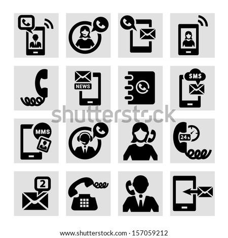 Elegant Vector Black Phone Icons Set. - stock vector