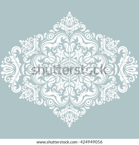 Elegant vector blue and white ornament in the style of baroque. Abstract traditional pattern with oriental elements - stock vector