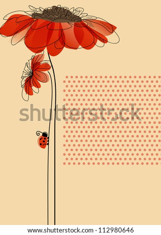Elegant vector card with flowers and cute ladybug - stock vector