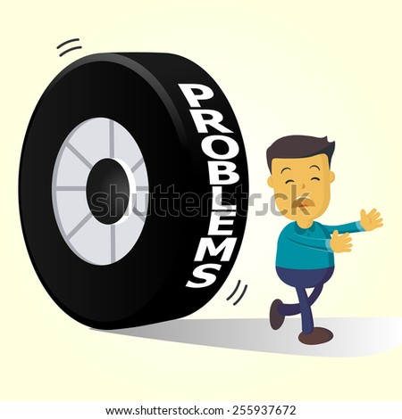 Elegant Vector Character Series | businessman people running away from problems - stock vector