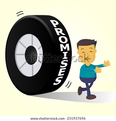 Elegant Vector Character Series | businessman people running away from promises  - stock vector