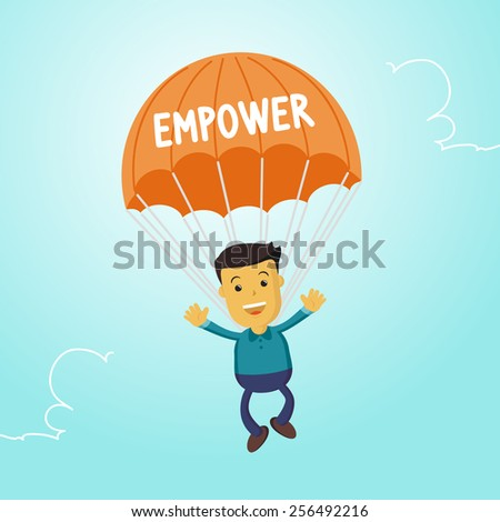 Elegant Vector Character Series | Businessman people waving hand jumping on parachute of empower - stock vector