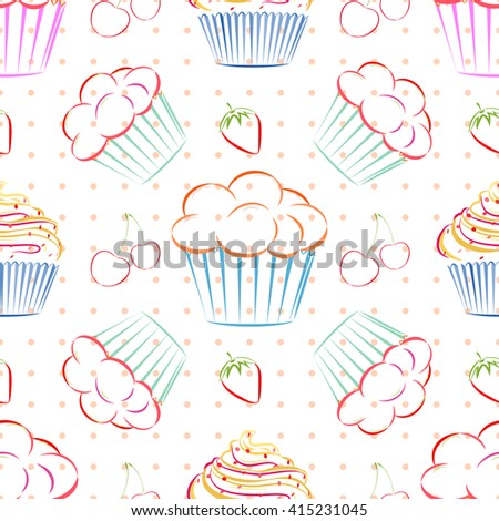 Elegant Vector Seamless Pattern With Different Cupcakes, Strawberries And  Cherries. Unique Doodle Style Line