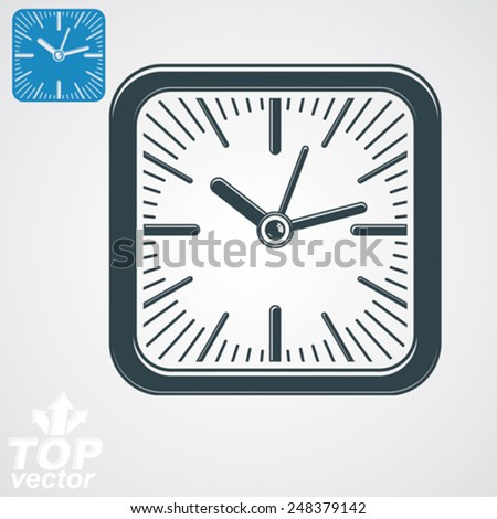 Elegant vector square wall clock with stylized clockwise, additional version included. Business time idea eps8 highly detailed vector illustration. Time management conceptual symbol. Web interface. - stock vector