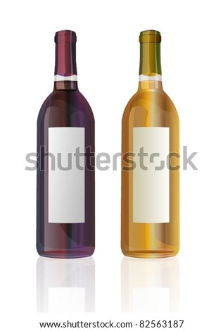 elegant vector wine bottles - stock vector