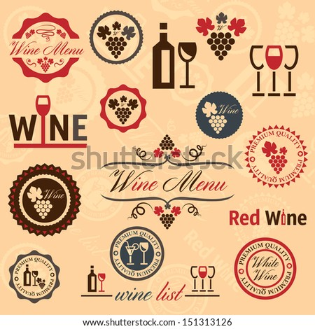 Elegant Vector Wine Labels Collection. - stock vector