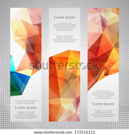 Elegant vertical banners with bright red, green and blue transparent triangles. - stock vector