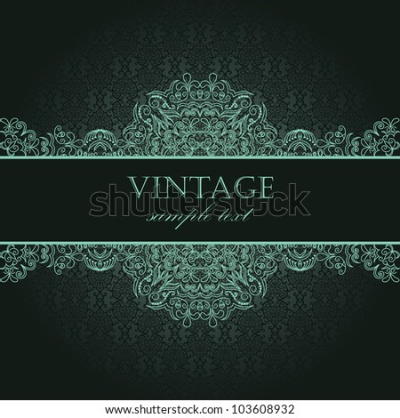 Elegant vintage card with damask seamless background - stock vector