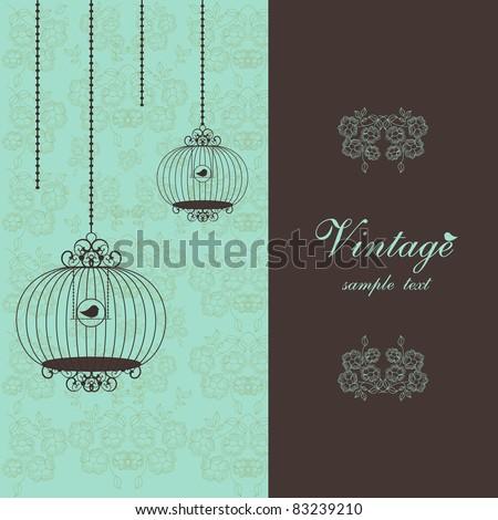 elegant vintage design with birdcages - stock vector