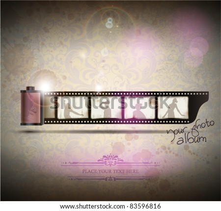 Elegant Vintage empty Photo frame Background. Vector Illustration. EPS10. - stock vector