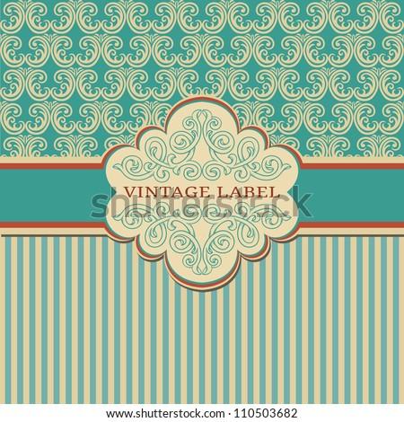 Elegant vintage frame with damask pattern - stock vector