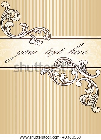 Elegant vintage sepia banner, vertical (vector); a JPG version is also available - stock vector
