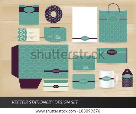 Elegant vintage stationery design - stock vector