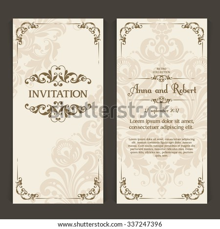 Elegant vintage wedding invitation design. Vector set of vertical banners with ornamental frame and patterned background. Greeting Card, packaging, banner, poster template - stock vector