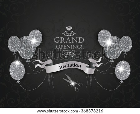 Elegant VIP Invitation cards with abstract air balloons, scissors and silver ribbon - stock vector