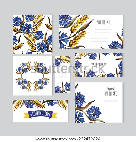 Elegant watercolor cornflowers and wheat floral cards, can be used for wedding, baby shower, mothers day, valentines day, birthday cards, invitations, banners, flyers, gift wrap, print, manufacturing - stock vector