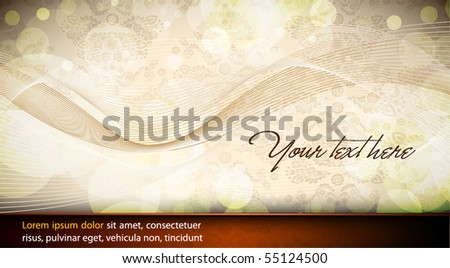 Elegant Wavy Design | Abstract Vector Card | Seamless Damask Vector Texture in the Background - stock vector