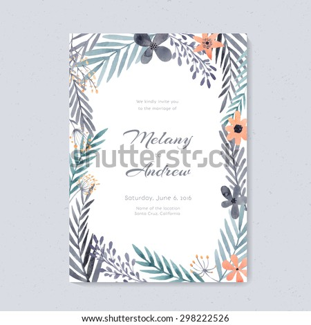 Elegant wedding card design with handpainted watercolor flowers. Artistic floral summer or spring bridal design.  - stock vector