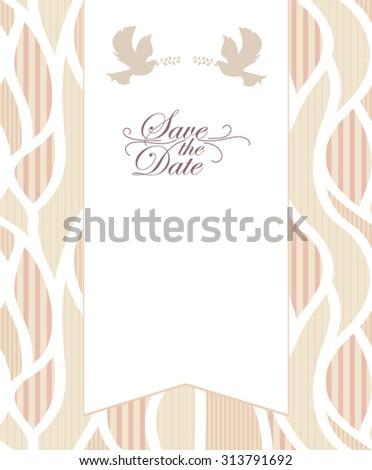 Elegant Wedding Invitation Card - stock vector