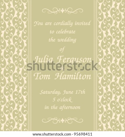 Elegant wedding invitation template green background stock vector elegant wedding invitation template in green background decoration and text are grouped and placed stopboris Gallery