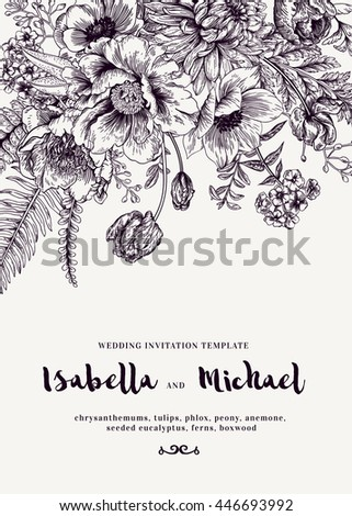 Elegant wedding invitations summer flowers vintage stock vector elegant wedding invitations with summer flowers in vintage style chrysanthemums tulips phlox stopboris Images