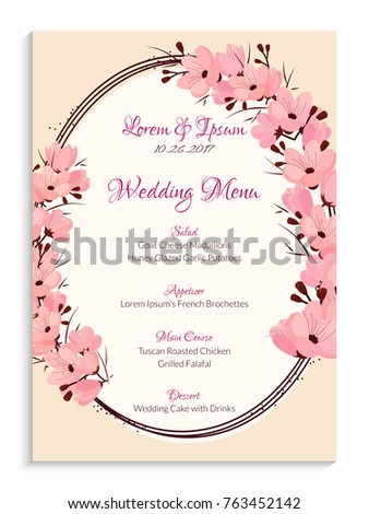 Elegant wedding menu card design decorated stock vector 763452142 elegant wedding menu card design decorated with flowers mightylinksfo