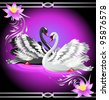 Elegant white and black swan on violet background with lilies - stock photo